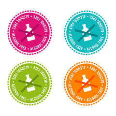 Wall Mural - Set of Allergen free Badges. Alcohol free. Vector hand drawn Signs. Can be used for packaging Design.