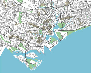 Colorful Singapore vector city map