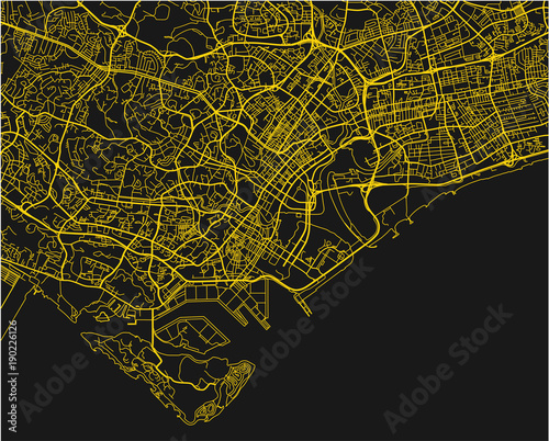 Black and yellow vector city map of Singapore with well organized ...