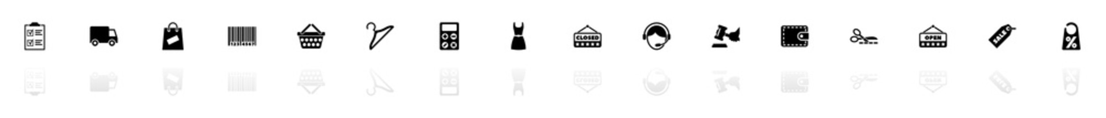 Shopping icons - Black horizontal Illustration symbol on White Background with a mirror Shadow reflection. Flat Vector Icon.