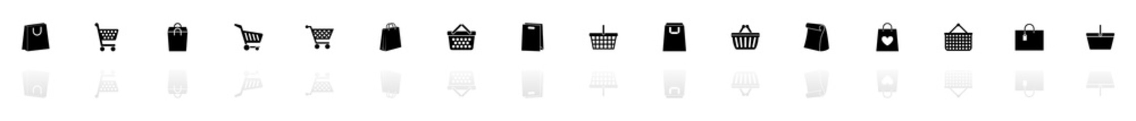 Shopping Bags icons - Black horizontal Illustration symbol on White Background with a mirror Shadow reflection. Flat Vector Icon.