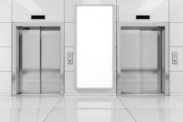 Blank Ad Billboard or Poster near Modern Elevator or Lift with Metal Doors in Office Building. 3d Rendering