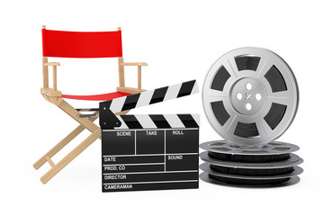 Cinema Industry Concept. Red Director Chair, Movie Clapper and Film Reels. 3d Rendering
