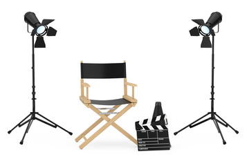 Cinema Industry Concept. Director Chair, Movie Clapper and  Spotlights. 3d Rendering