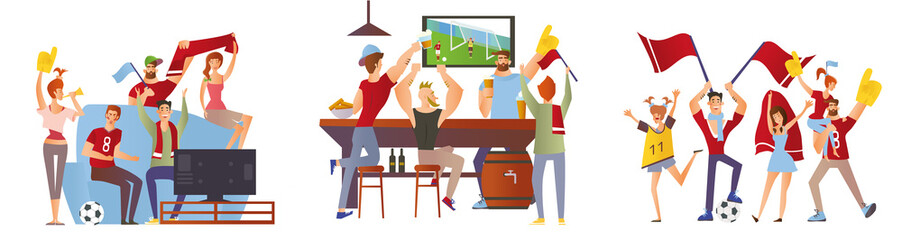 A group of friends, football fans cheering for their favourite football team. Men and women watch soccer at the stadium, in the bar and at home on TV. Vector illustration set.