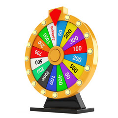 Luck and Fortune Concept. Spinning Colorful Fortune Wheel. 3d Rendering