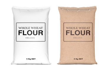 Foto op Aluminium Kruiderij Paper Bags of Whole Wheat Organic Flour. 3d Rendering