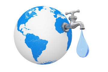 Earth Globe with Water Tap and Water Drop. 3d Rendering