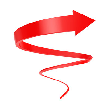 Red Spiral Arrow Twist Up to Success. 3d Rendering