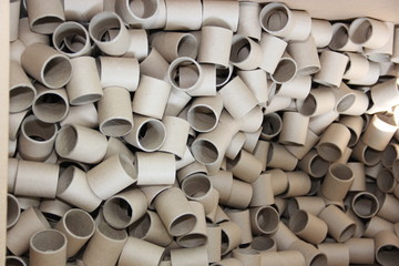 Waste of roll paper. gray tube rollers.