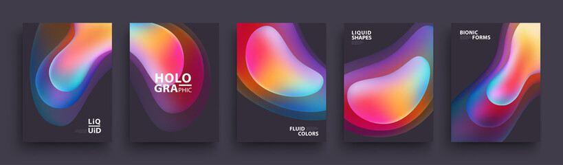 Modern Covers Template Design. Fluid colors. Set of Trendy Holographic Gradient shapes for Presentation, Magazines, Flyers, Annual Reports, Posters and Business Cards. Vector EPS 10 Fotoväggar