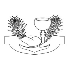 catholic tradition hand bread cup grail and palm branch vector illustration outline design