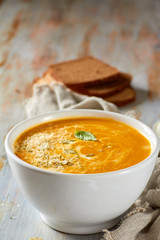 Pumpkin soup with cheese