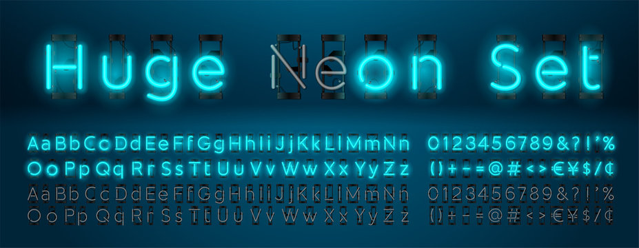 Mega huge neon set glowing alphabet with upper and lowercase letters, vector Font. Glowing text effect. On and Off lamp. Neon Numbers and punctuation marks. isolated on blue background.