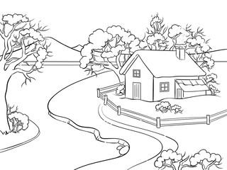 Winter landscape coloring book vector