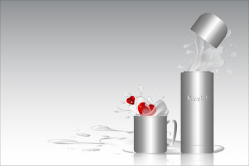 Bottle of water and a glass of water set stainless gray color design with reflection and red hearts in water design background and water splash,Vector illustration.