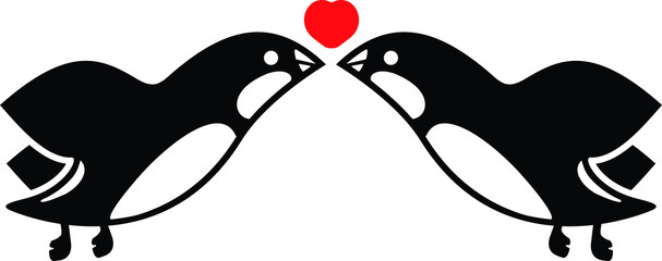 Two birds kissing under a heart symbol. A pair of lovebirds.
