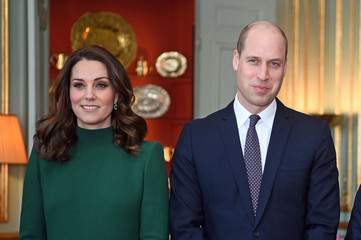 Britain's Prince William and Catherine, the Duchess of Cambridge arrive to meet Sweden's royal family  at the Royal Palace of Stockholm