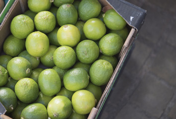 Green limes in a cardboard box ready to be sold at a market