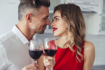Portrait of a loving romantic smart dressed couple