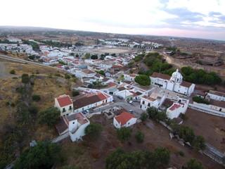 Vista aerea de Castro Marim (Portugal) localidad perteneciente a Faro en la región del Algarve muy  proxima a la frontera con España. Fotografia con Drone