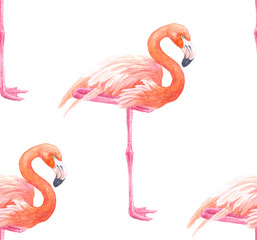 Seamless pattern made of flamingos painted with watercolors.