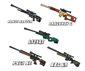sniper riffle weapon set cartoon design