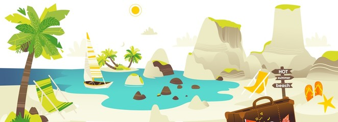 Tropic palm beach with rocks, yacht, sun chairs and clouds in sky, summer vacation horizontal banner, flat cartoon vector illustration. Beach scene with sea, ocean coast, yacht and lounge chairs