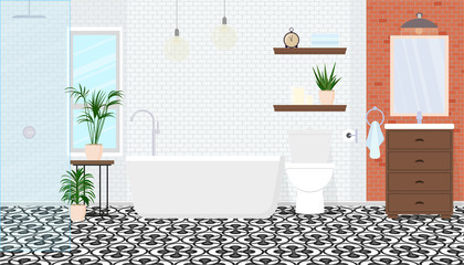 Modern interior design of the bathroom. Vector illustration.