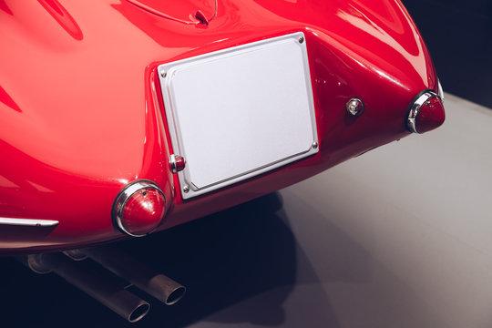 Vintage back car view - original label copy space.