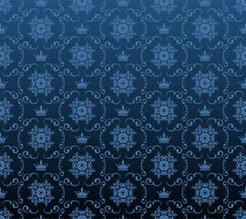 Blue Background Damask Wallpaper