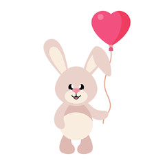 cartoon cute bunny with lovely balloons