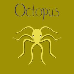 flat illustration on background octopus