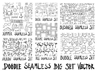 MEGA set of doodles seamless vector background eps10