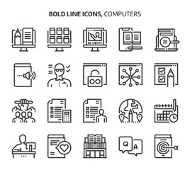 Computers and networking, bold line icons.