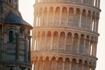 Leaning tower Pisa closeup at sunrise