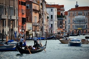 Busy water traffic in Grand Canal