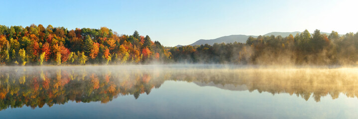 Canvas Prints Pool Lake Autumn Foliage fog