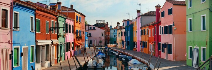 Colorful Burano canal panorama view