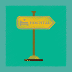 flat shading style icon hospital sign