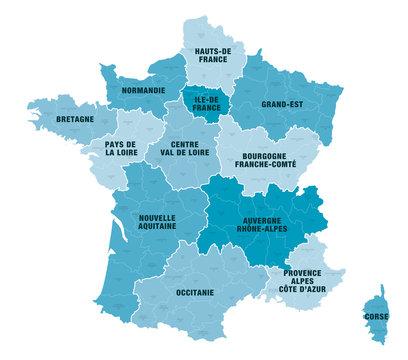 Carte Régions + Départements de France 1 2018