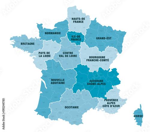 68c110429a3 Carte Régions + Départements de France 1 2018