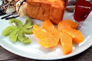 Sweet fruits and snack.