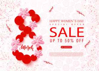 8 March - Happy Women s Day sale banner. Beautiful Background with flowers and serpentine. Vector illustration for website , posters, ads, coupons, promotional material