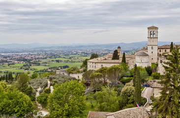 Assisi, Italy. View of the city and its surroundings on the mountainside