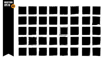 A set of frames, black squares, textural lines, also brushes.