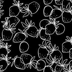 Seamless abstract strawberry modern pattern on black