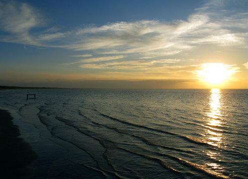Laesoe / Denmark: Autumnal atmosphere at the Baltic Sea coast in Vesteroe Havn