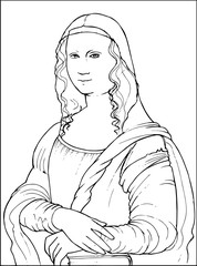 Mona Lisa by famous Leonardo Da Vinci coloring vector illustration