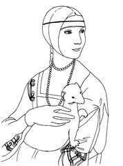 illustration of the lady with the ermine, Leonardo da Vinci artwork